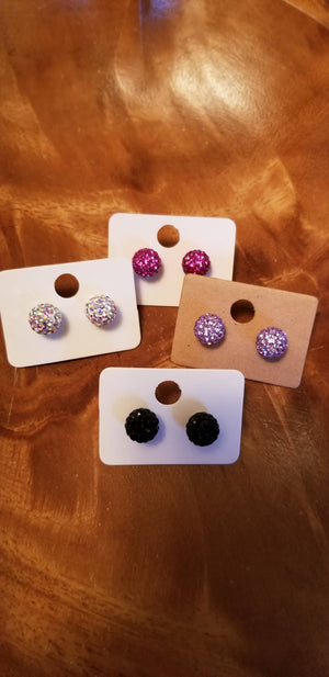 Small glitter ball earrings assorted colours