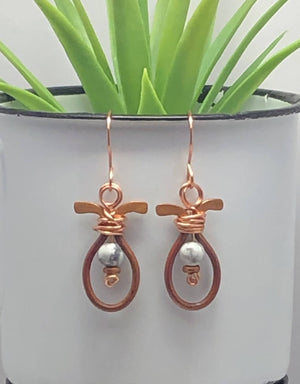 Copper/Howalite Earrings/by Simply de novo Creations