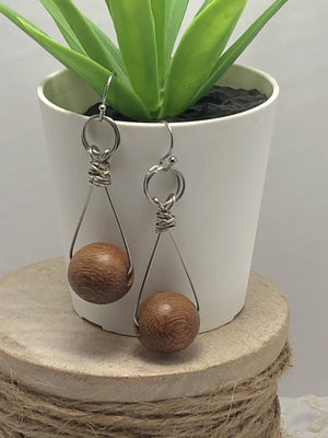 Wood Bead & Stainless Earrings/ by Simply de novo Creations