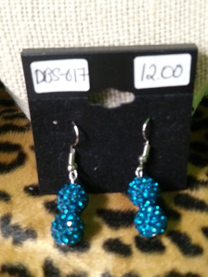 Turquoise Double Sparkle Ball Earrings