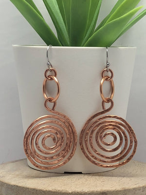 Copper Spiral Earrings/ by Simply de novo Creations