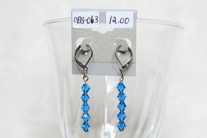 Blue Sparkle Crystal Dangle Earrings