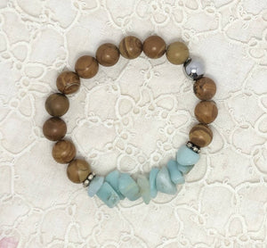 Amazonite & Wood Jasper Bracelet/ by Simply de novo Creations
