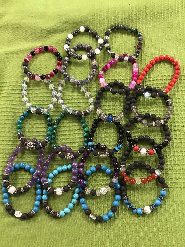 Beaded bracelets assorted colours