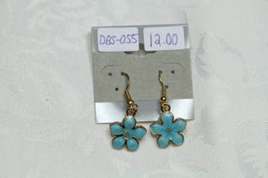 Sky Blue Enamel Flower Earrings