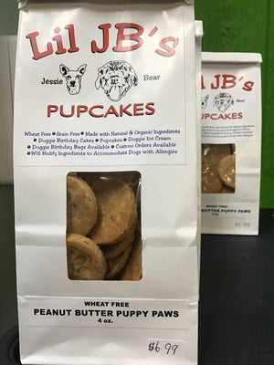 Wheat free peanut butter puppy paws