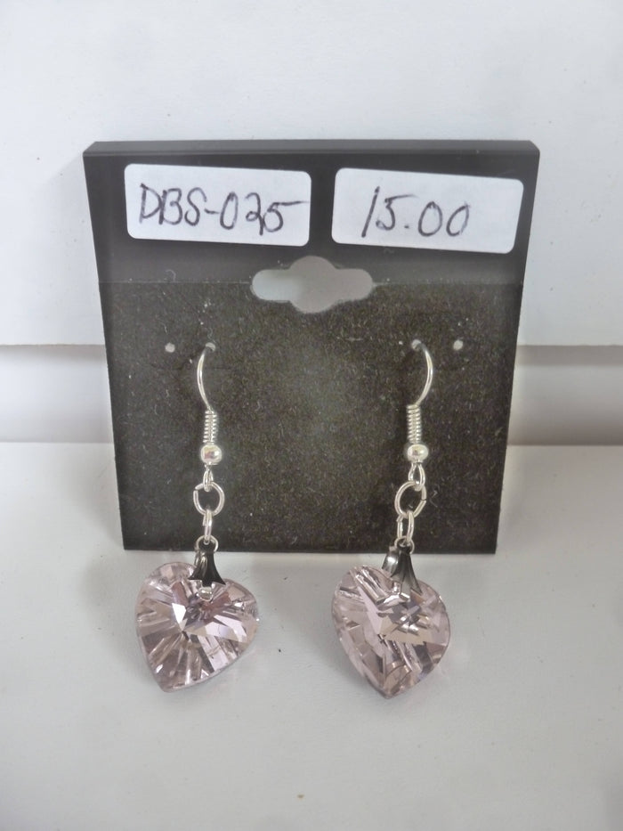 Pink Crystal Heart Earrings