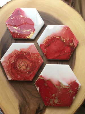 VitatiungArt Tile Coasters Set Red and Gold
