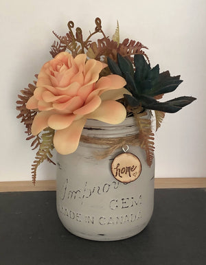 Peach Succulent Floral Arrangement/by Simply de novo Creations