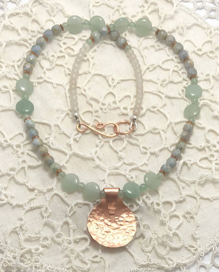 Green Aventurine with Copper Necklace/ by Simply de novo Creations