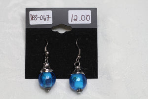 Blue Murano Glass Ball Earrings