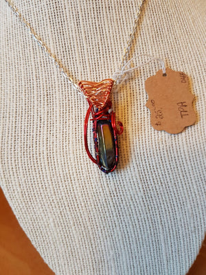 Red and Copper Wire Wrapped Stone