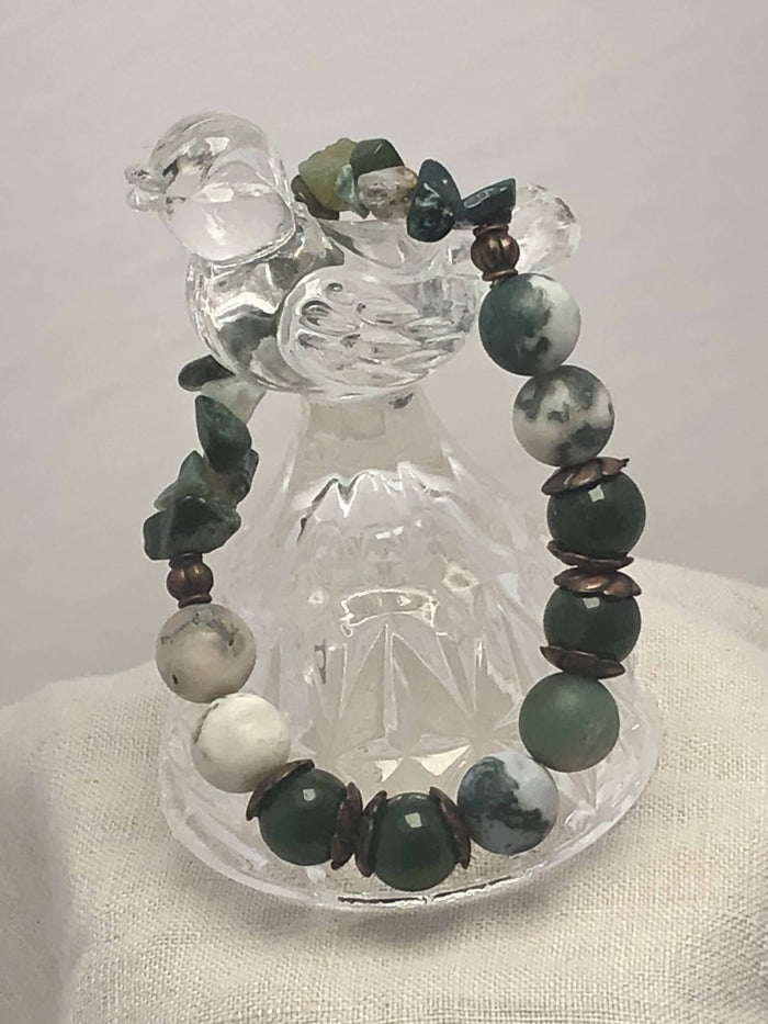 Tree Agate & Green Jade Bracelet/ by Simply de novo Creations