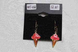 Orange Ice Cream Cone Earrings