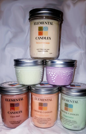 Candles - Hidden Crystals, Pure Soy (250ml)