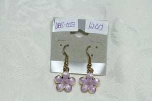 Lilac Flower Enamel Earrings