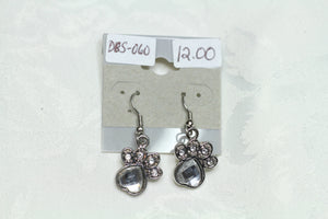 Puppy Paw Silver Rhinestone Earrings
