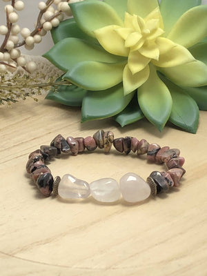 Rose Quartz & Rhodonite Bracelet/by Simply de novo Creations