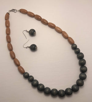 Teal Wood Bead Necklace Set/ by Simply de novo Creations
