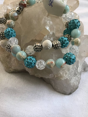 Duo Blue Sea Crystal Bracelet