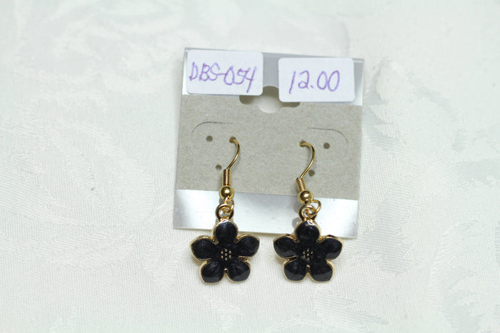 Dazzling Black Enamel Flower Earrings