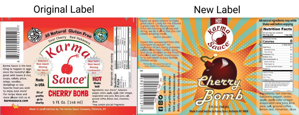 Cherry Bomb Old Label vs. New Label
