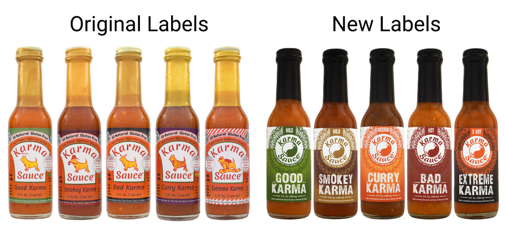 Original Sauce Labels vs. Redesigned Sauce Labels