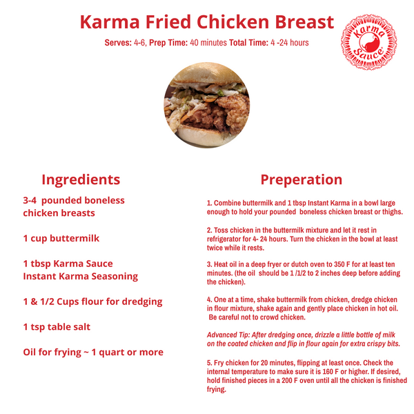 Karma Fried Chicken Breast Recipe