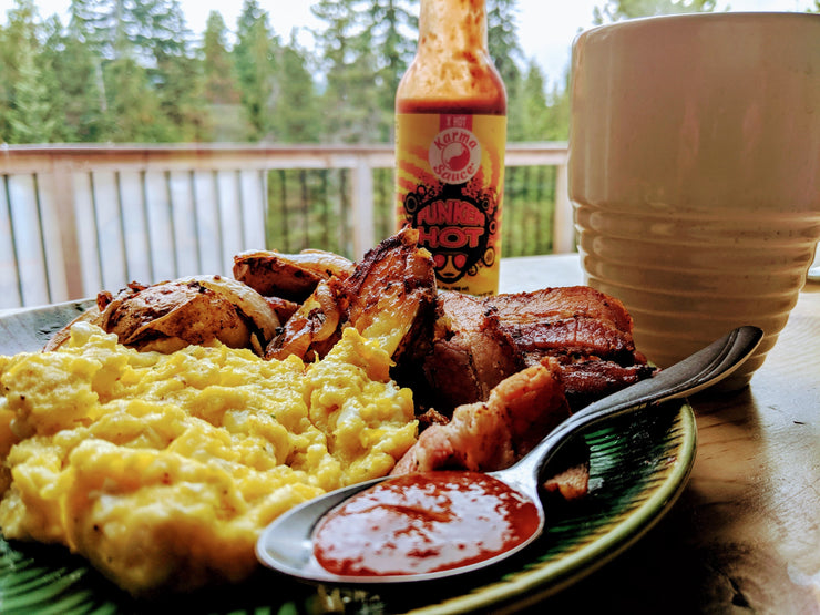 Funken Hot Hot Sauce with Scrambled Eggs and Bacon