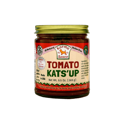 Tomato Kats'up Jar Front Side View