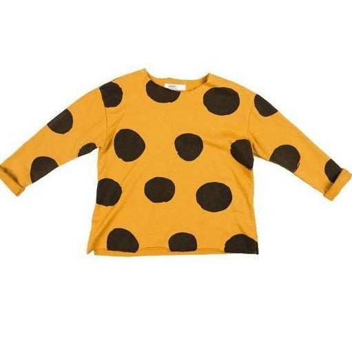 Dot Print French Terry Unisex Pullover Top