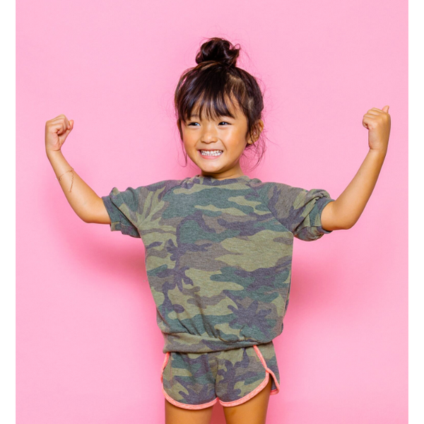 Girl's Top - Koko | Camo | Olive - Joah Love
