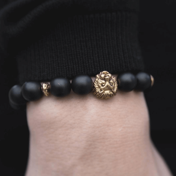 MATTE BLACK ONYX & GOLD LION