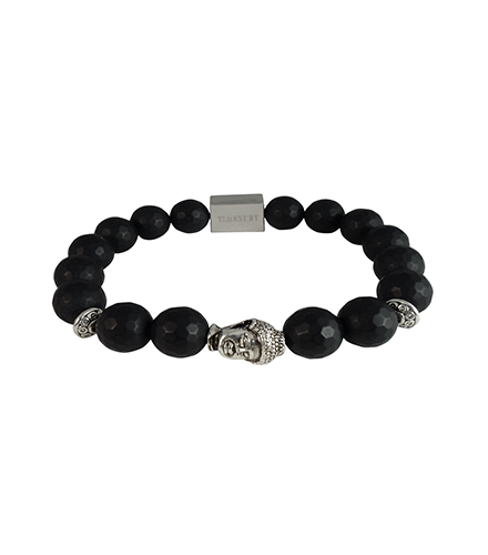 FACETED MATTE BLACK ONYX & SILVER BUDDHA