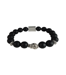 FACETED MATTE BLACK ONYX & SILVER BUDDHA - TimexuryWatches