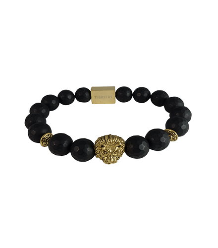 FACETED MATTE BLACK ONYX & GOLD LION