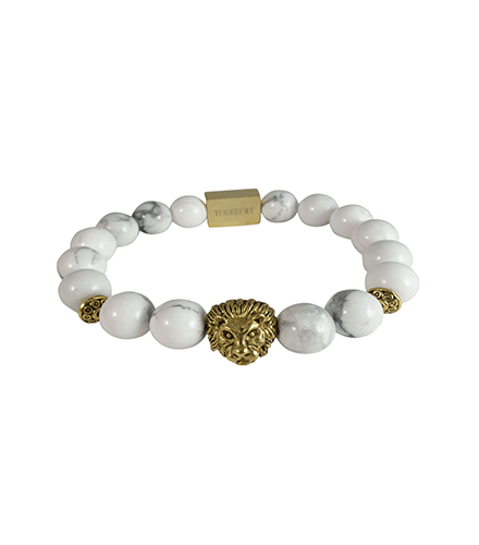 WHITE HOWLITE & GOLD LION