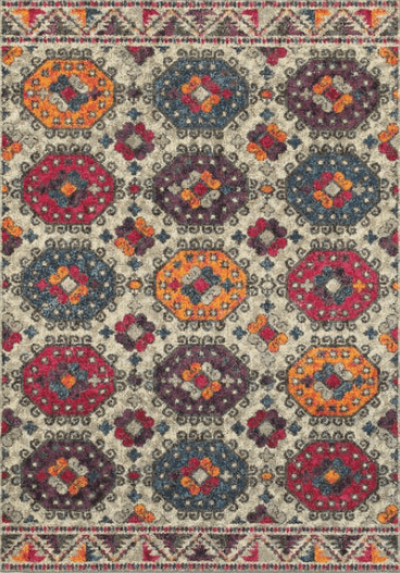 Bohemian rug with wild colors of yellow, pink, and turquoise