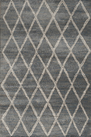 Forster Lattice Sterling/Mist Geometric Pattern Rug From Central Oriental