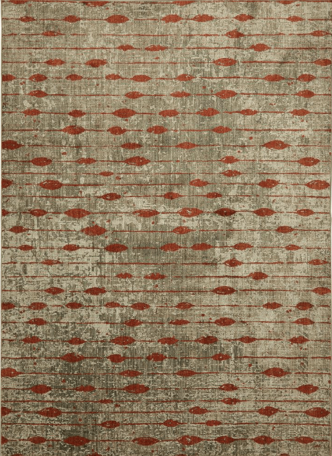 Mohawk Gianni Ginger Striped Rug With Red and Orange Accents Against a Tan Backdrop