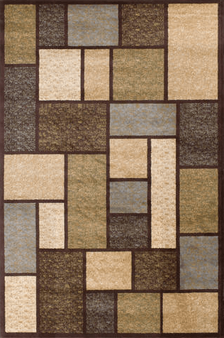 Interlude Keswick Square Pattern Brown Rug From Central Oriental