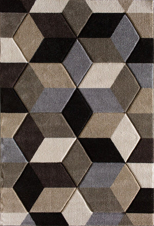 Pinnacle Fontanelle Geometric Dark Brown Rug From Central Oriental