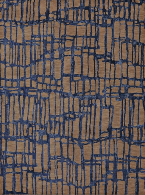 Karastan Enigma Twilight Indigo Rug With Brown and Blue Accents