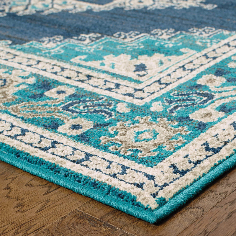 Highlands 6658a Geometric Teal Rug From Oriental Weavers