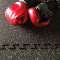 Rubber floor tiles for gyms or playrooms