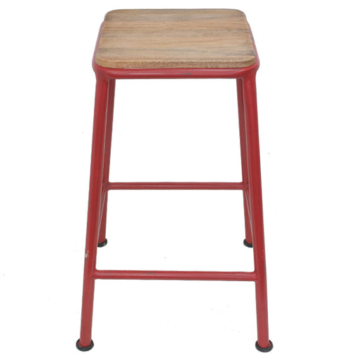 Vintage Industrial Barstool - Red  | FREE DELIVERY - OzChairs.com.au™