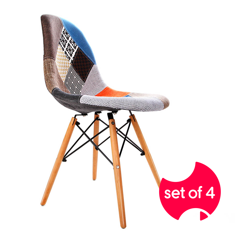 Set of 4 Retro Beech and Fabric Dining Chairs | FREE DELIVERY - OzChairs.com.au™