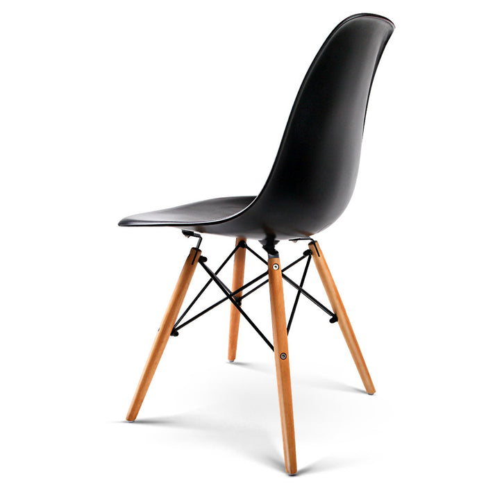 Set of 4 Retro Beech Wood Dining Chairs - Black | FREE DELIVERY - OzChairs.com.au™