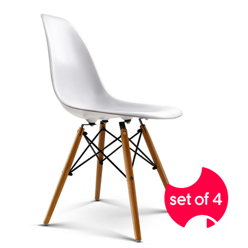 Set of 4 Retro Beech Wood Dining Chairs - White | FREE DELIVERY - OzChairs.com.au™