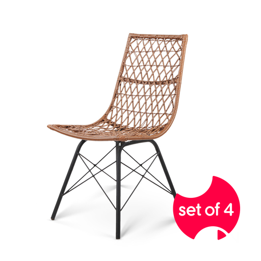 Set of 4 PE Wicker Dining Chairs - Natural | FREE DELIVERY - OzChairs.com.au™